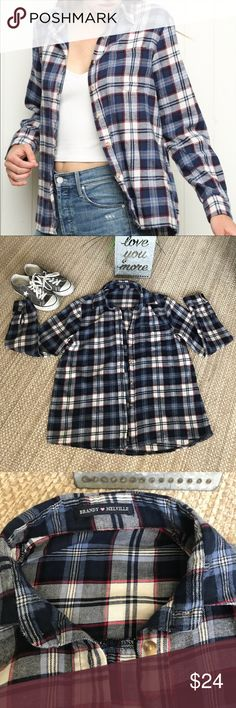 Brandy Melville Oversized Flannel Button Up EUC!  No stains, tears or rips. This comes in one size fits most. No trades. Thank you! Brandy Melville Tops Button Down Shirts