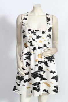 Twinkle by Wenlen Flight of Swans Black White Cotton Cocktail Dress Sz 4 | eBay