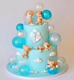 bubble bears cake - Ideas for children's birthday cakes - Tortendeko - Cake Design Baby Birthday Cakes, Baby Cakes, Birthday Bash, Birthday Kids, Teddy Bear Birthday Cake, Birtday Cake, Women Birthday, Fondant Cakes, Cupcake Cakes