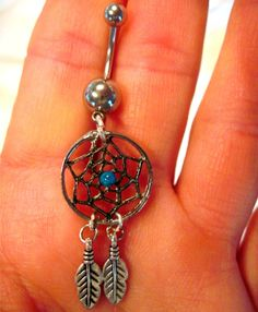 Navel Belly Button Ring Dream Catcher Feathers Barbell Naval    #jewelry #arianrhodwolfchild #piercing  #gift #bellybutton #belly #feathers #bellyring #navel #dreamcatcher