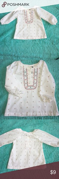 Toddler Girl Long Sleeve Shirt. 🌸🌸 Adorable used toddler girl long sleeve shirt. Material is 100% Cotton made in Thailand. There is a small light yellow stain on the upper right across from the buttons. Please feel free to ask me any questions. 🙂 I accept Pay Pal only. All items are stored in a smoke free/ Pet free home. Item will be shipped within 12 hours after payment has been cleared. Thank you so much! 💖💖 Carter's Shirts & Tops Blouses