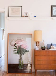 framed oversized photograph of pink peonies. / sfgirlbybay