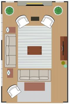 seating arrangement for two focal points | Living Room #2 - Activity Zone Living Room Arrangement: