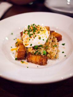 Poached egg, Quinoa and Crispy Pork Belly