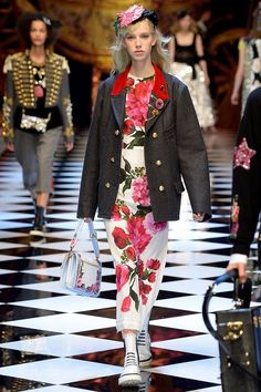 Milan fashion week  Fall 2016 collection  Dolce & Gabbana Floral - Cinderella - sleeping white - Snow White - jacket - black - white - pink - rose - red - bag - sneakers -  long sleeves .