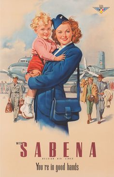 Sabena Airlines vintage poster - Belgium's national airline from 1923 to 2001