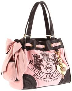"""This soft pink velour Daydreamer handbag tote from Juicy Couture is their most popular style and very hard to find in stock! Signature """"Scotties"""" logo embroidery in chocolate brown on the front and the leather """"J"""" patch on the back.   http://tinyurl.com/d9eop6r"""
