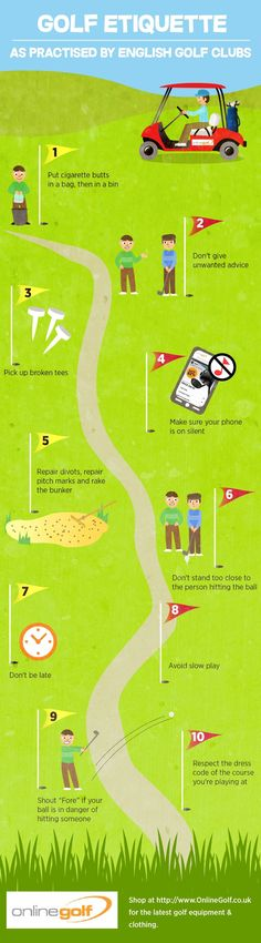 The Top 10 Tips On Good Golf Etiquette Infographic #AwesomeGolfTips