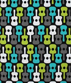 Michael Miller Groovy Guitar Lagoon Fabric - $8.9 | onlinefabricstore.net - Love Michael Miller Designs!!