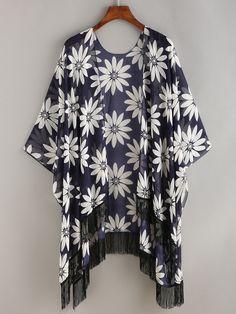 Chrysanthemum+Print+Fringe+Chiffon+Kimono+21.99