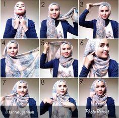 How to wear hijab tutorials headscarves 17 Ideas Tutorial Hijab Pashmina, Square Hijab Tutorial, Hijab Style Tutorial, Turban Tutorial, Islamic Fashion, Muslim Fashion, Hijab Dress, Hijab Outfit, Hijabs