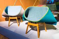 The Clarissa chair by Patricia Urquiola, Diatom by Ross Longrove, and Kenny chair by Raw Edges for Moroso.