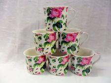 Set of 6 June Rose china palace mugs