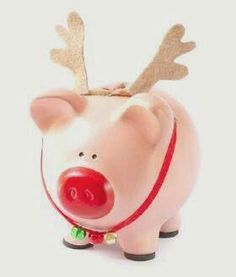 Cochinito navidad Christmas Crafts, Xmas, Christmas Ornaments, Pig Bank, Crafts For Kids, Diy Crafts, Cute Piggies, This Little Piggy, Money Box