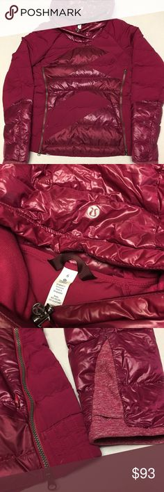 $298 lululemon athletic pink puffy pullover jacket It's a size 6 in women's which is a s small and it has an Amazing design and great quality with a fun color way! The jacket does have some flaws however shown in the last picture. Some small holes that could be patched up or maybe sewn together! Great way to get a high priced quality jacket for a lot lower. lululemon athletica Jackets & Coats Puffers