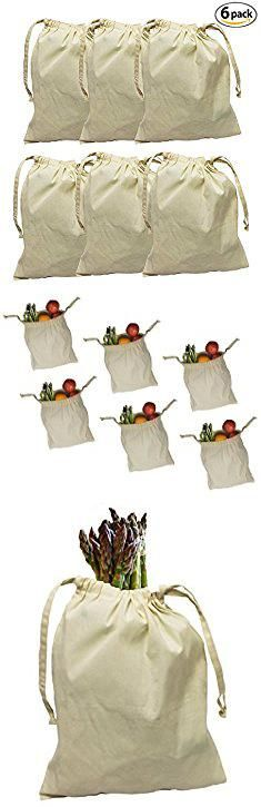 """Muslin Bags Bulk. Earthwise Organic Cotton Muslin Produce Bags with Drawstring for Grocery Shopping and Storing , Bulk Foods, Nuts, Grains, Spices Storage & Organizing 11.5"""" x 13.5"""" ( Set of 6 ).  #muslin #bags #bulk #muslinbags #bagsbulk"""