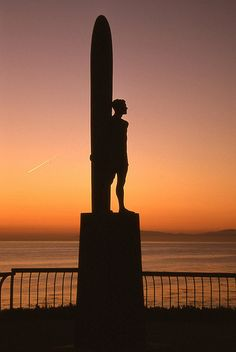 Surfer Statue  on West Cliff Drive in Santa Cruz via flickr