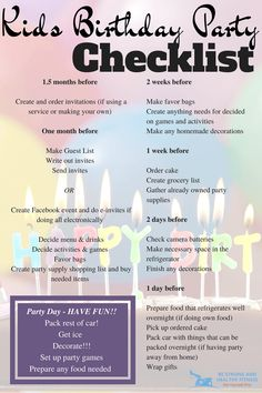 It can be hard to remember everything you need to do to put together a party. Use this kids birthday party checklist to get things done and on time!