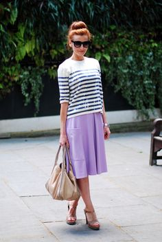 Not Dressed As Lamb - Over 40 Fashion Blog: Dressing Like a Parisian | A Sequinned Sailor Stripe Top & Midi Skirt