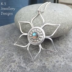 Labradorite Sterling Silver Flower Pendant - Decorative Centre by KSJewelleryDesigns