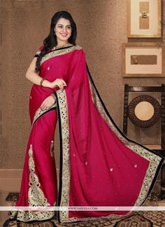 Capture the exuberance of womanhood in its full glory that will bring out your fragility and femininity. Add a small burst of color to a wardrobe with this hot pink chiffon satin designer saree. The i...