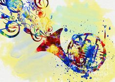 Colorful French Horn. Available for print