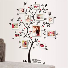 diy family photo frame tree wall stickers home decor living room sofa vintage poster wall art decals home decoration wallpaper
