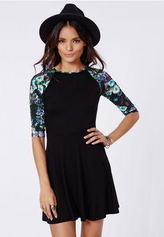 Cali Floral Sleeve Skater Dress Black - Dresses - Skater Dresses - Missguided