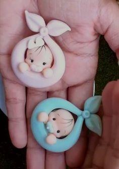 Cute Polymer Clay, Polymer Clay Dolls, Cute Clay, Polymer Clay Projects, Fondant Figures, Clay Figures, Baby Shower Souvenirs, Fondant Animals, Baby Shawer
