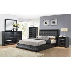 Acme Tirrel Black Upholstered Bed (Eastern King, 45H)