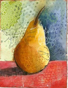Art du Jour by Martha Lever: Mixed Media Pear