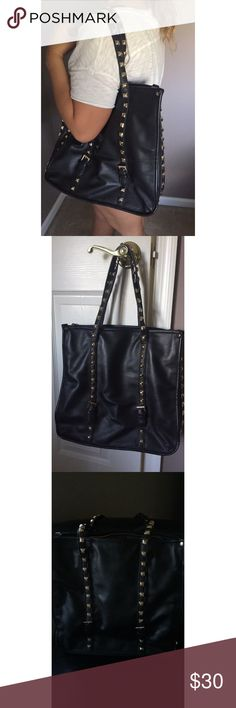 LIKE NEW STUDDED PURSE Black leather with gold studs on sides and handle. Rarely Used. In Great condition ! Bags Totes