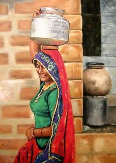 Punjab artwork of an Indian girl Abstract Art Painting, Rajasthani Painting, Art Painting, Indian Artwork, Female Art Painting, Line Art Drawings, Art Village, Canvas Art, Rajasthani Art