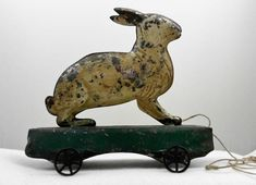 'RARE' Antique Early American Painted Tin Rabbit Pull Toy 19th Century