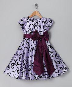 Lilac Antique Bow Cap-Sleeve Dress - Toddler & Girls