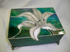 Stained Glass Jewelry Box with white lily| Flickr - Photo Sharing! White lilies are my favorite flower!