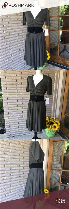 M60 Miss Sixty Olive Green Dress Belt Sz 8 w/Tags M60 Miss Sixty Olive Green Dress with Belt  Size 8 Never Worn, With Tags Miss Sixty Dresses