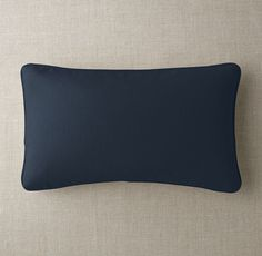Custom Brushed Linen Cotton Piped Lumbar Pillow Cover