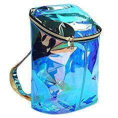 Zicac Mädchen Ruckscak Transparent Süßigkeiten-Farbe Rucksack (Blau)