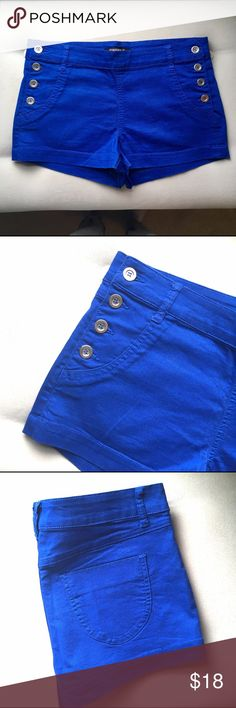 Royal Blue Jean Shorts NBW! Royal blue Jean Shorts with buttons up the sides. Two pockets in front and back! Perfect condition. Shorts Jean Shorts