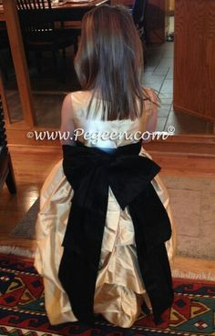 Black and gold flower girl dresses ~ Located 1 mile from Disney World, Selling online and shipping world wide. Call us for design help! 407-928-2377