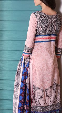 Buy Pink Printed Cotton Lawn Dress by Firdous Love Spring Collection 2015.