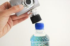 bottle cap tripod. i had one of these for a while before it got lost in the abyss of my purse.