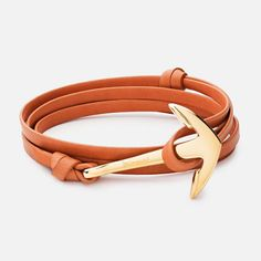 ANCHOR ON LEATHER BRACELET, GOLD-PLATED | MIANSAI