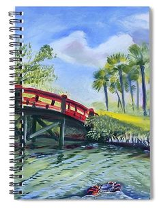 """This x spiral notebook features the artwork """"Red Island Bridge"""" by Colleen Proppe on the cover and includes 120 lined pages for your notes and greatest thoughts. Notebooks For Sale, Red Art, Lined Page, How To Be Outgoing, Color Show, Palm Trees, Valentine Gifts, Colorful Backgrounds, Fine Art America"""