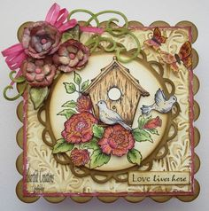 Click to Zoom: Bird House w/ Red Roses