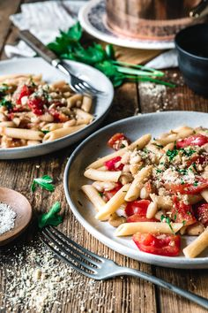 Penne con Fagioli Bianchi Yummy Pasta Recipes, Appetizer Recipes, Vegan Recipes, Dinner Recipes, Vegan Pasta, Pesto Pasta, Vegan Food, Penne, Pasta E Fagioli
