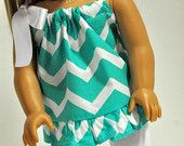 American Girl Doll Clothes Turquoise and White Chevron Print Summer Top with Ruffle and White Leggings 18 inch