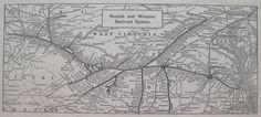 1922 NORFOLK and WESTERN RAILROAD Map Black and by plaindealing