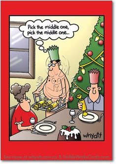 Middle One Cartoon Christmas Humor Card Whyatt